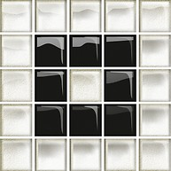 Glass White/Black Mosaic B New