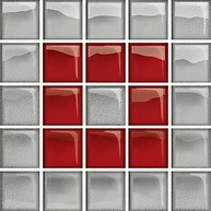 Glass Silver/Red Mosaic B New