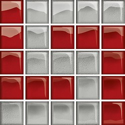 Glass Silver/Red Mosaic D New